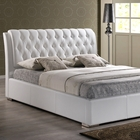 Bianca King Platform Bed - Diamond Tufts, Metal Legs, White