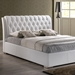 Bianca King Platform Bed - Diamond Tufts, Metal Legs, White - WI-BBT6203-WHITE-KING-BED