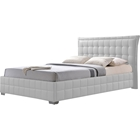 Monaco Faux Leather Platform Bed - Tufted, White