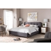 Germaine Fabric Platform Bed - Grid Tufted, Dark Gray - WI-BBT6569-DARK-GRAY