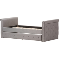 Swamson Button Tufted Twin Daybed - Roll-Out Trundle Bed, Gray