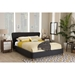 Camden Fabric Upholstered Platform Bed - Button Tufted, Dark Gray - WI-BBT6606-DARK-GRAY-H1217-20