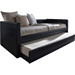 Risom Faux Leather Twin Daybed - Trundle Bed, Black - WI-CF-8519-BLACK-DAY-BED