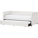 Frank Faux Leather Button Tufted Twin Daybed - Trundle Bed, White - WI-FRANK-WHITE-DAYBED