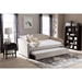 Lanny Nailheads Twin Daybed - Trundle Bed, Beige - WI-LANNY-BEIGE-DAYBED