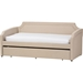Parkson Twin Daybed - Roll-Out Trundle Bed, Beige - WI-PARKSON-BEIGE-DAYBED