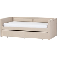 Raymond Fabric Nailhead Twin Daybed - Roll-Out Trundle Bed, Beige