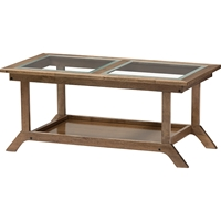 Cayla Living Room Glass Top Coffee Table - Walnut Brown